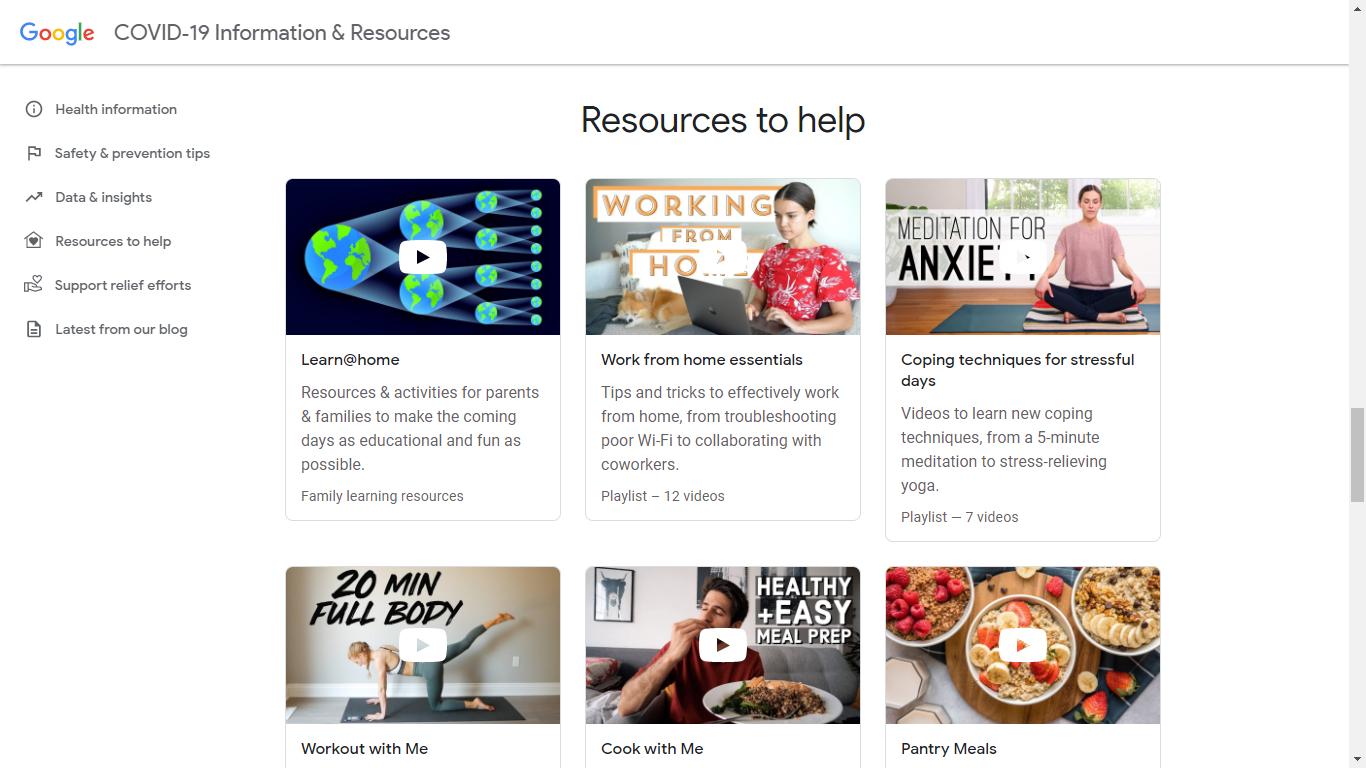 COVID-19 Informazioni & Risorse | Google lancia il suo sito sul Coronavirus