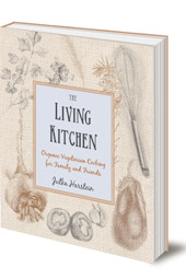Front cover of The Living Kitchen vegetarian cookbook