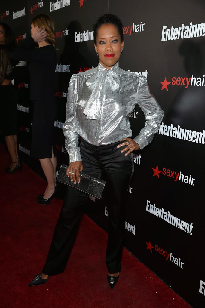 Regina King  silver shiny bow blouse  Satin Lite House