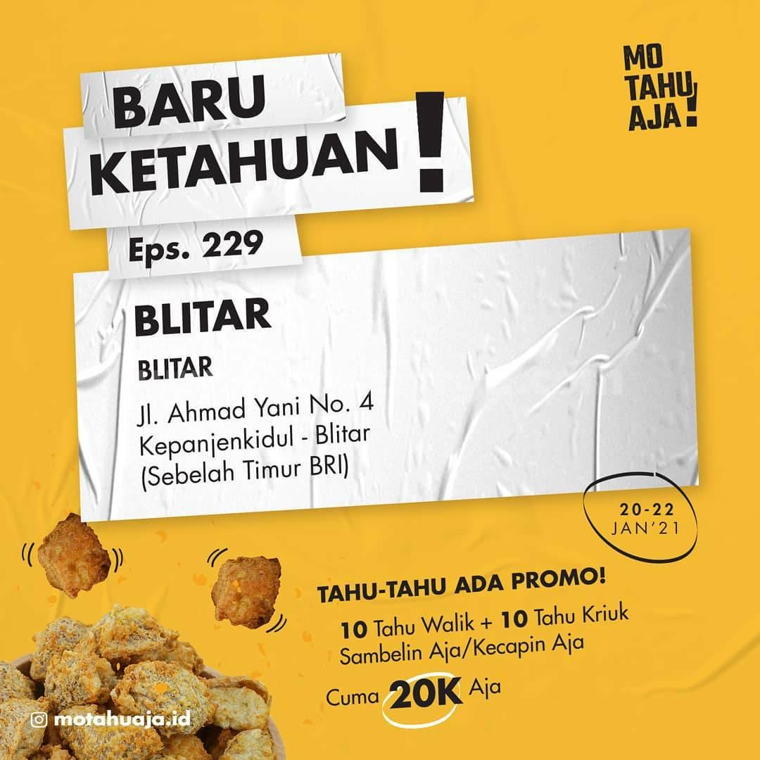 Mo Tahu Aja BLITAR Opening Promo Paket 20 Tahu cuma Rp 20.000