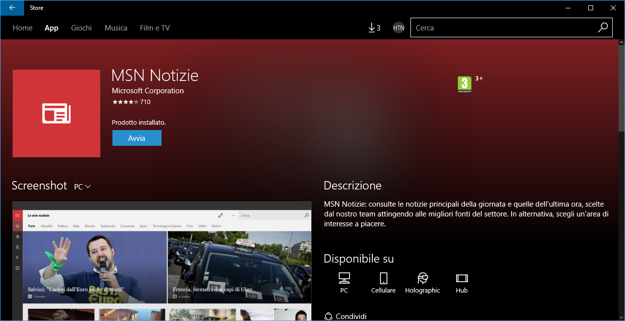 Importanti aggiornamenti per le App MSN in Windows 10 HTNovo