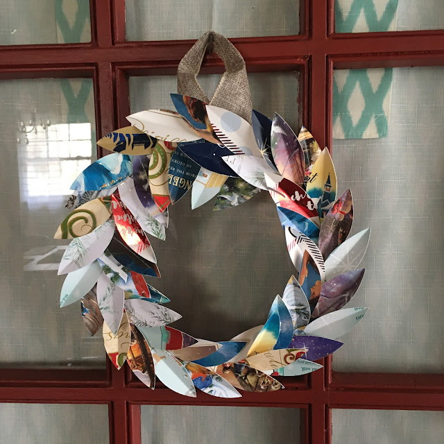 Upcycle those old Christmas cards and make a Magnolia Leaf Wreath using the Cricut Maker.