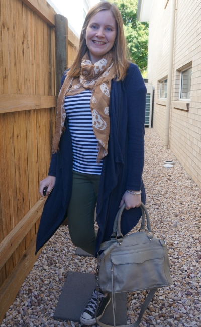 neutral playdate outfit olive skinny jeans stripe tee skull scarf navy cardigan grey bag | away from blue