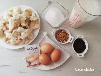 Ingredientes de budin o pudin de pan al horno