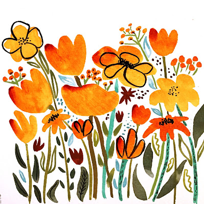 wildflower garden illustration with Quinacridone Nickel Azo Gold fluid acrylic flowers