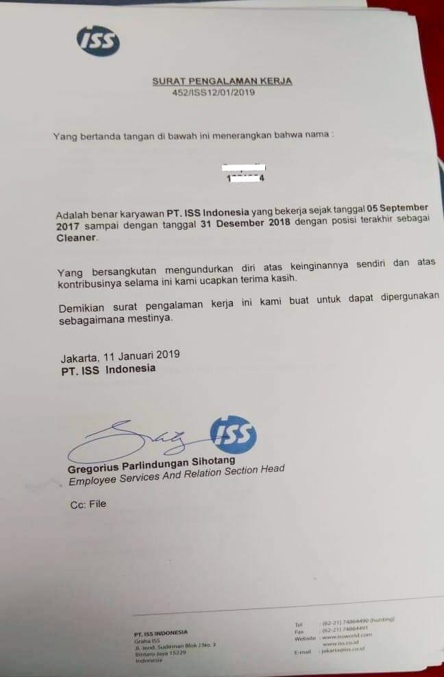 Contoh Paklaring Pt Iss Indonesia Surat Pengalaman Kerjanya Begini Lowongankerjacareer Com