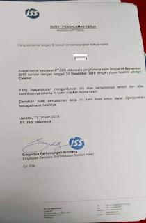 Contoh Paklaring PT ISS Indonesia 2020 Contoh surat pengalaman kerja PT ISS Indonesia