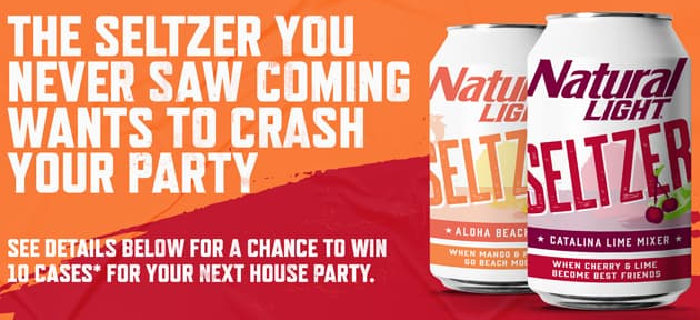 The Seltzer you never saw coming, Natural Light Seltzer, want to crash your party! They are giving away 10 cases of their Lime and Aloha Beaches seltzer!