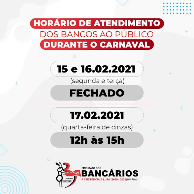 Bancos não vão funcionar no período de Carnaval em Elesbão Veloso