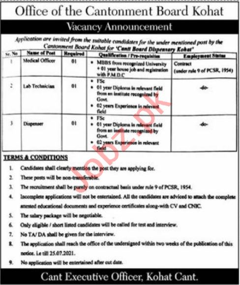Jobs in Cantonment Board