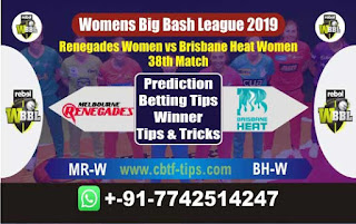 Who will win Today WBBL 2019, 38th Match Brisbane vs Renegades, WBBL T20 2019