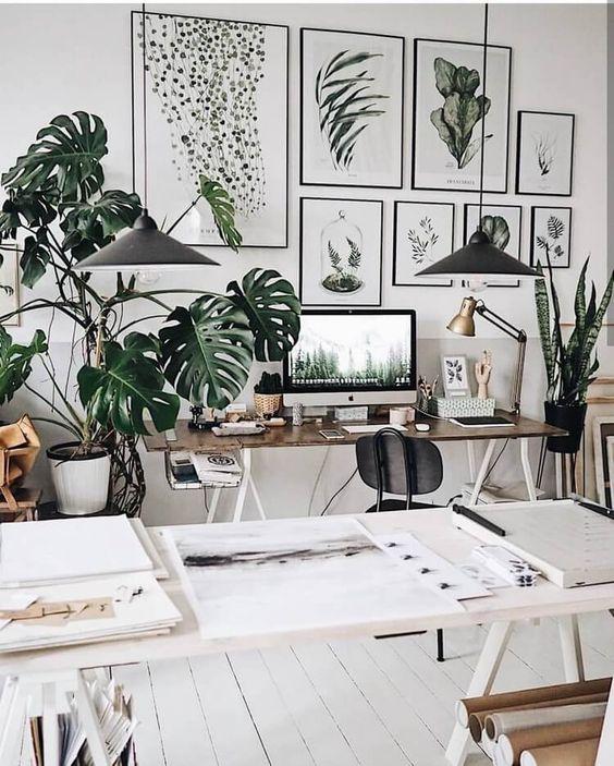 Oficina en casa con inspiración boho