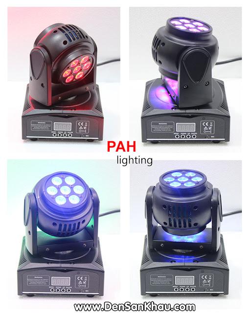 LED Mini Zara Moving Head chuyển và trộn màu: Xanh Dương - Đỏ - Xanh Lục - Tím
