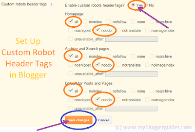 custom header tags setting in blogger