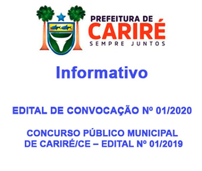 Prefeitura Municipal de Cariré convoca candidatos aprovados no Concurso Público Municipal - Edital Nº 01/2019