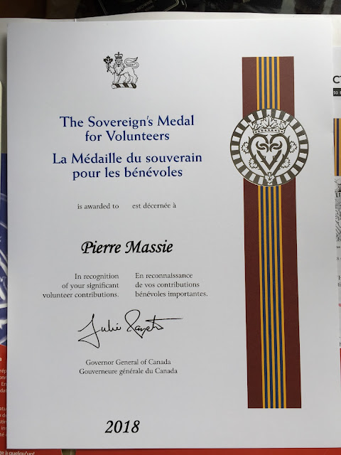 Pierre's certificate for his G G Award