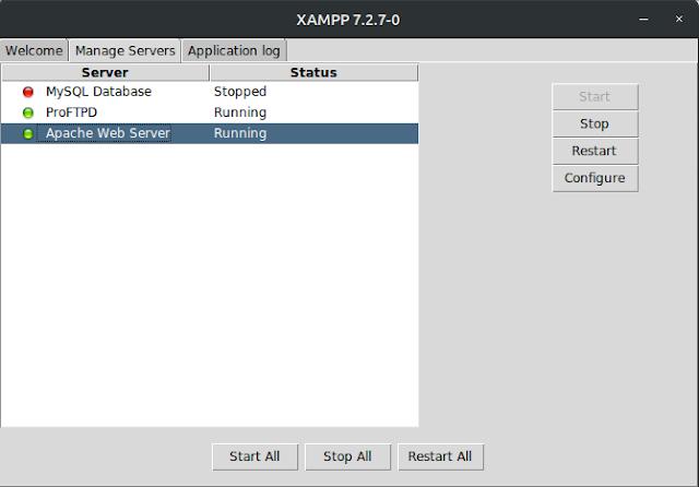 إدارة برنامج الخادم المحلى xampp من الواجهه الرسومية