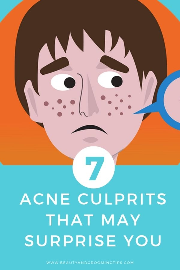 man with pimples on his face looking at the mirror illustration