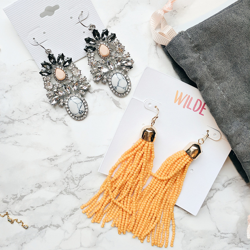 rocksbox jewelry subscription, wilde yellow tassel earrings, perry street howlite statement earrings