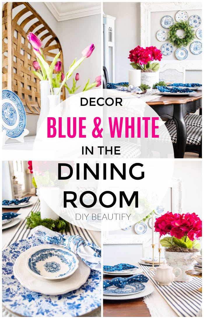blue and white dining room decor