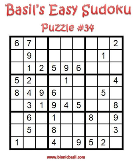 Basil's Easy Sudoku Puzzle #34 Brain Training with Cats ©BionicBasil® Downloadable Puzzle Fur Purrsonal Use Only