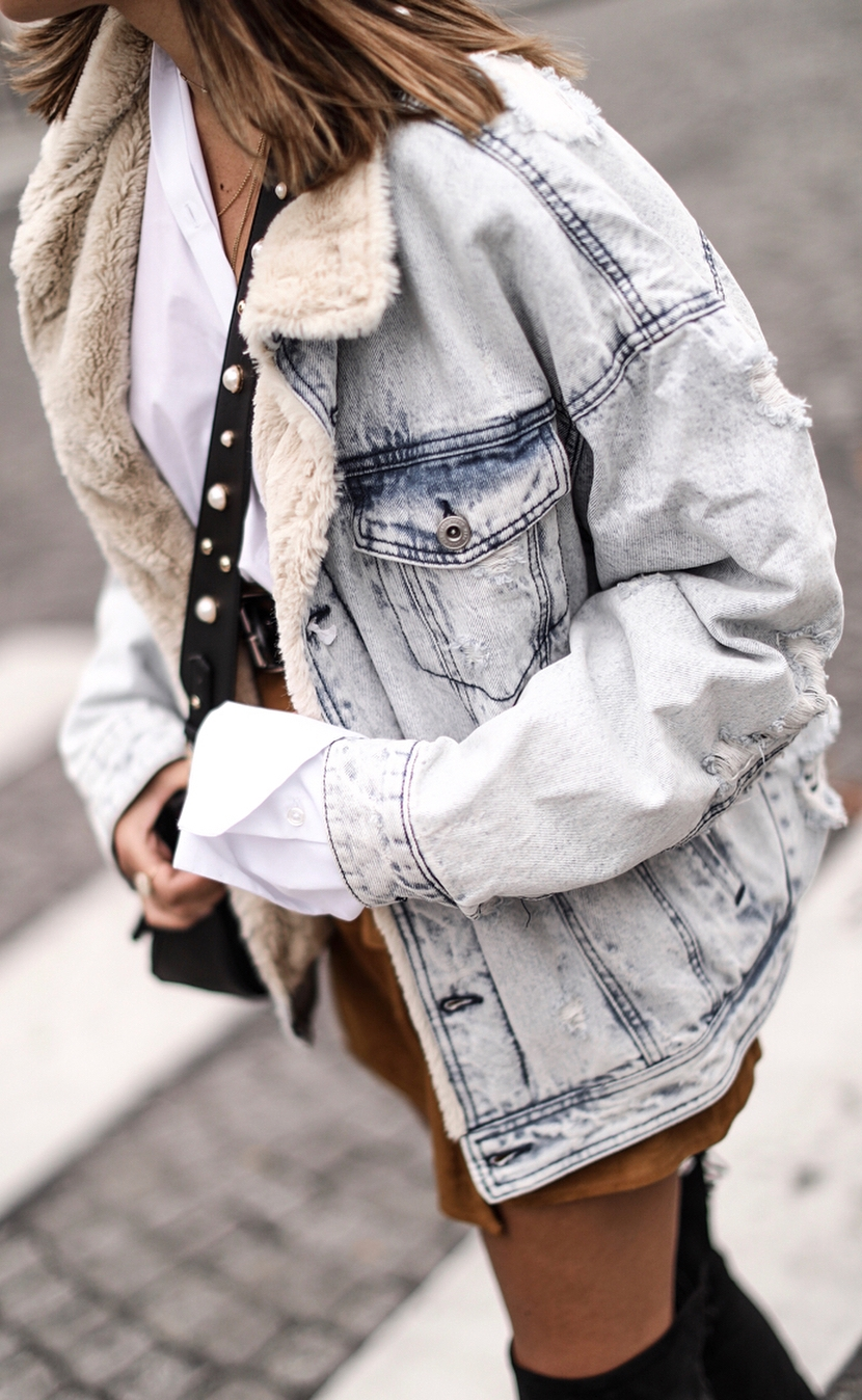 how to style a denim jacket + white shirt + bag + brown skirt