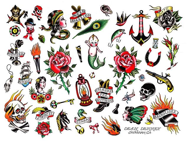 Small Tattoo Art: Take Your Shot Fanzine: Old School Tattoo Flash, By Dean