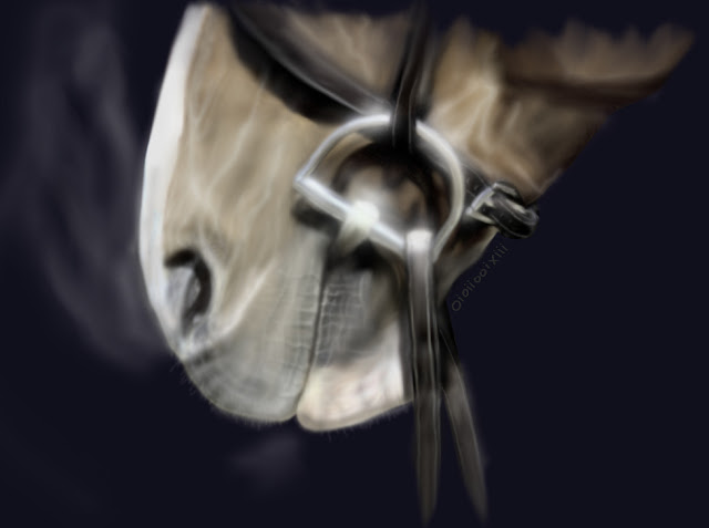 Digital airbrush painting of a slightly surreal looking horse muzzle with bridle
