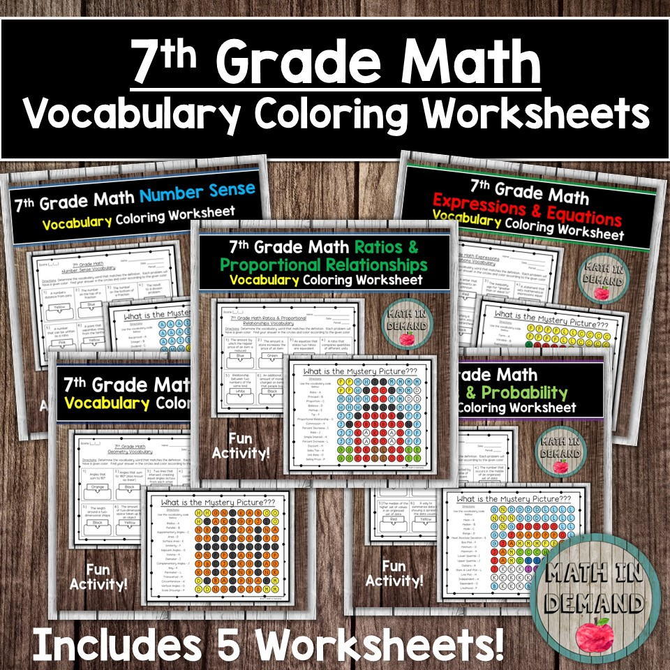 7th Grade Math Vocabulary Coloring Worksheets