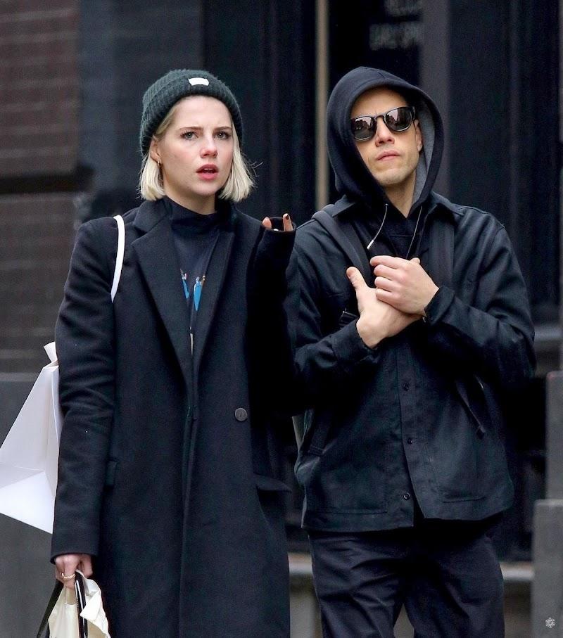 Lucy Boynton and Rami Malek at NYC Subway 5 fFeb-2020