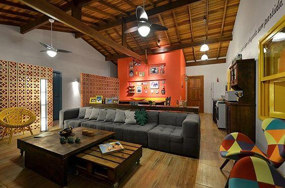 decoração-parede-laranja