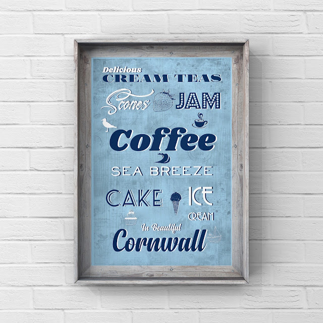 Cornish Cream tea retro sign by Mark Taylor