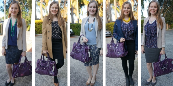 5 ways to wear a purple Balenciaga work bag in the office | awayfromtheblue