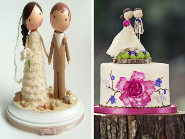 topo de bolo de madeira para casamento