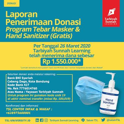 Mari, ikut tebar Masker dan Hand Sanitizer (Gratis) bersama Tarbiyah Sunnah Learning