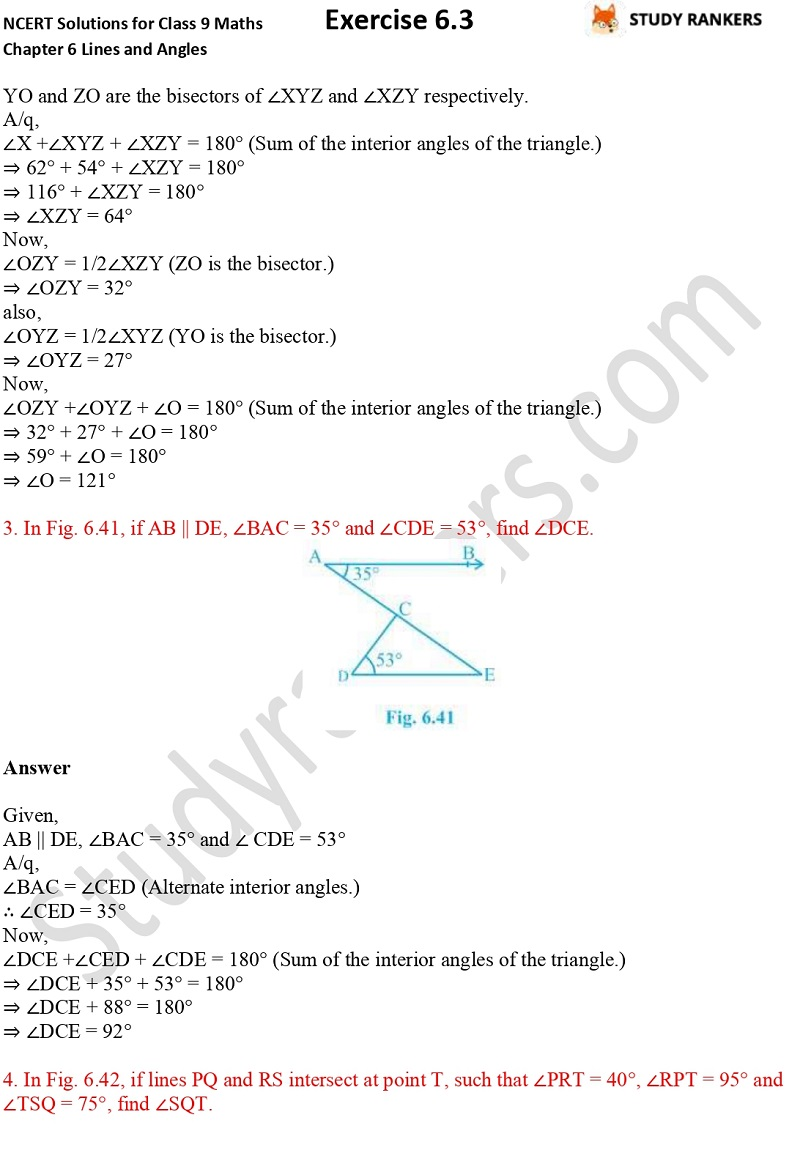 NCERT Solutions for Class 9 Maths Chapter 6 Lines and Angles Exercise 6.3 Part 2