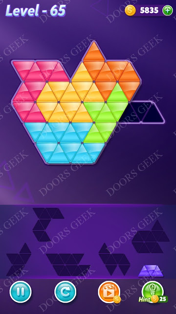 Block! Triangle Puzzle Intermediate Level 65 Solution, Cheats, Walkthrough for Android, iPhone, iPad and iPod