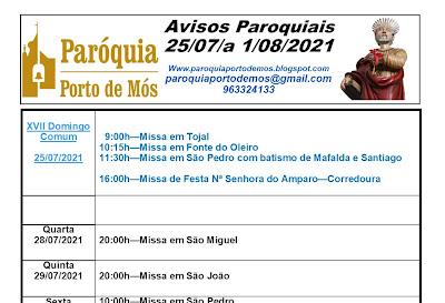 Avisos Paroquiais - 25/07 a 3 Agosto de 2021