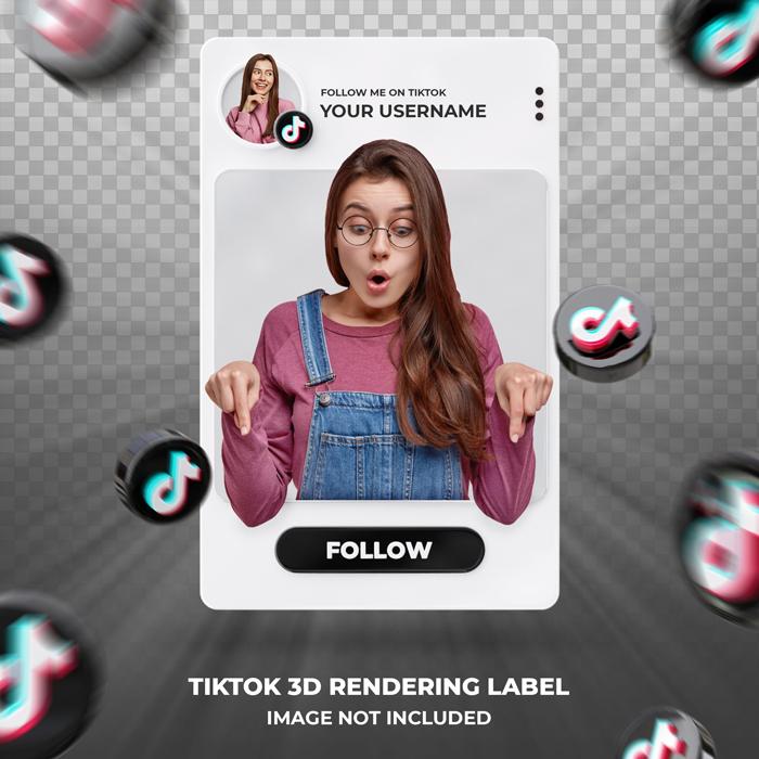 Banner Icon Profile Tiktok 3D Lendering Label Template