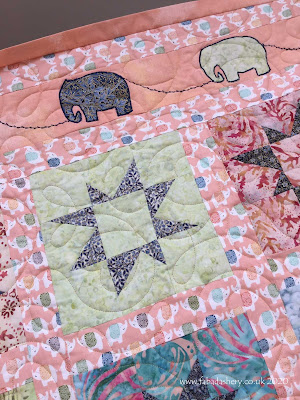 Marie's Elephant Quilt,  quilted by Frances Meredith at Fabadashery