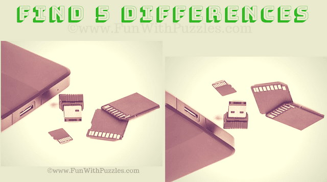 It is Picture Puzzles showing two similar looking pictures of memory cards in which you have to find 5 differences