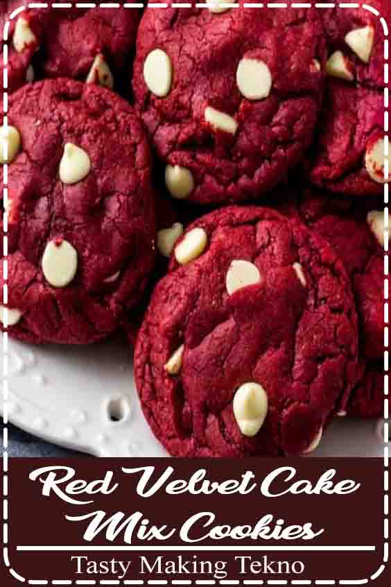 These Red Velvet Cake Mix Cookies are soft, chewy & filled with white chocolate chips. There's only 4 ingredients and they're the perfect easy red velvet cookie for Christmas or Valentine's!