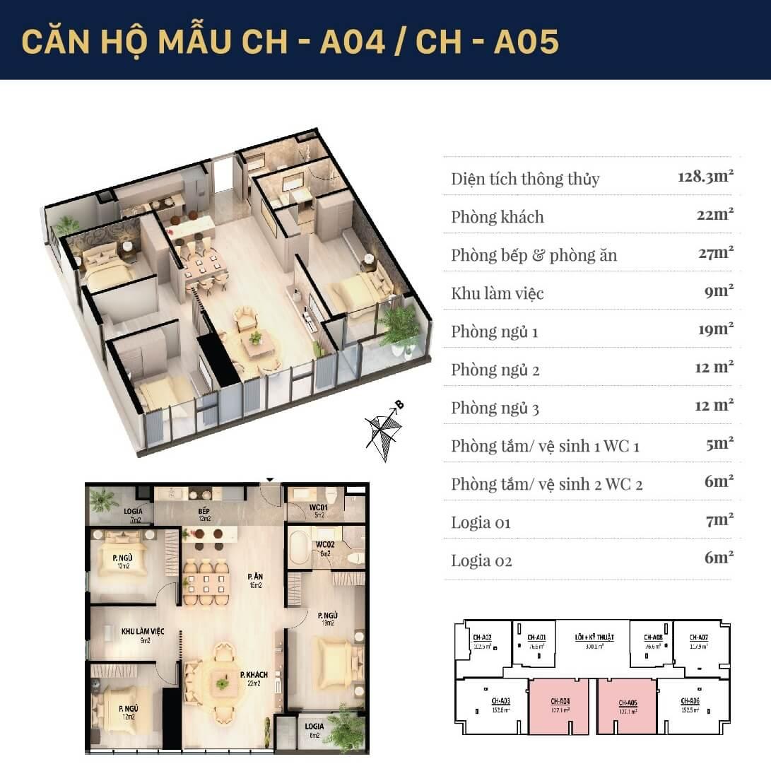 Chi tiết căn hộ 04 -05 dự án Grandeur Giảng Võ