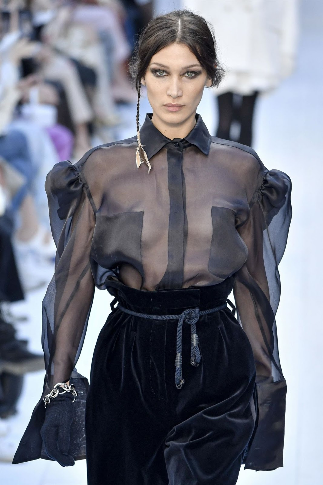 Braless Bella Hadid Wows Spectators at Milan Fashion Week With Daring Outfit