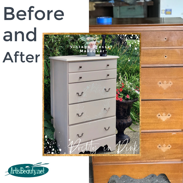 Before and After Pretty in Pink Vintage dresser makeover using General FInishes milk paint in Ballet Pink