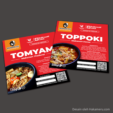 Desain Label Stiker Toppoki & Tomyam Untuk UMKM Kuliner MAMAKE KU