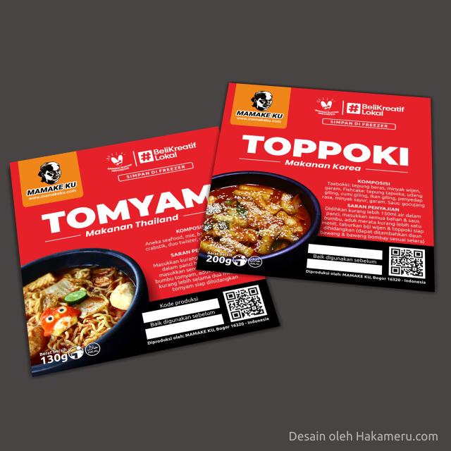 Desain label stiker makanan frozen food Toppoki (makanan Korea) dan Tomyam (makanan Thailand)