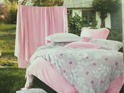 Sprei Katun Jepang Motif Bunga Pink