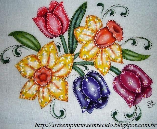 pintura em tecido flores tulipas pano de prato