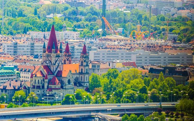 View of Francis of Assisi Church on the Danube River in Vienna, Austria
